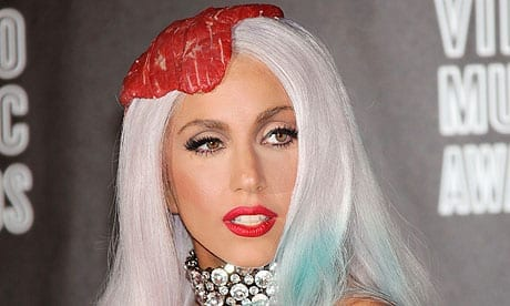 Picture of Lady Gaga wearing meat