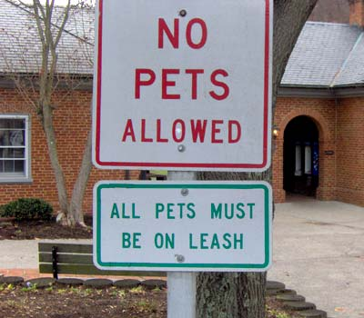 No pets allowed. All pets must be on a leash.