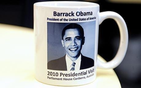 Proofreading error, mug reads Barrack instead of Barack