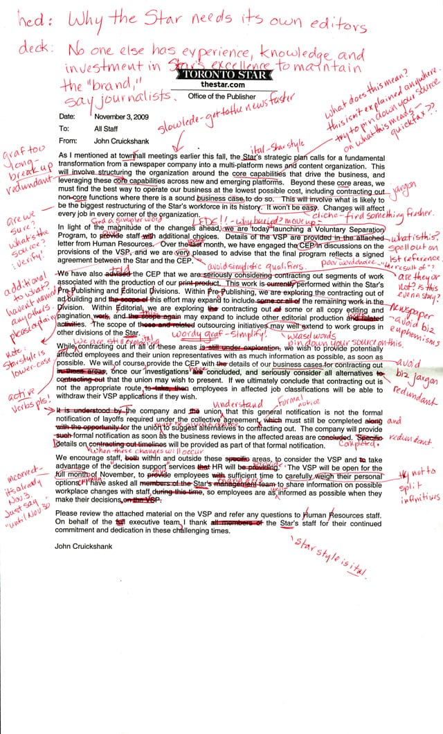 Extensive editing of an internal memo