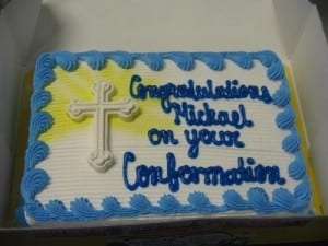 "Cake Spelling Mistake: ""congratulations on your conformation"""
