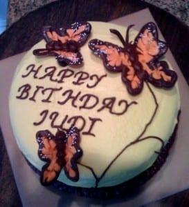 "Cake spelling mistake: ""Happy Bithday Judi"""