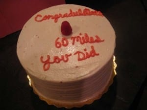 "Cake spelling mistake: ""60 miles you did"""
