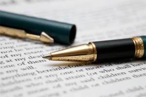 Image of a pen on written business material