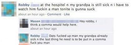 Facebook status. Grandpa in a comma