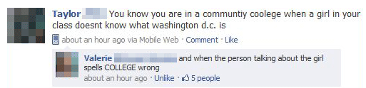 College spelled wrong on Facebook status