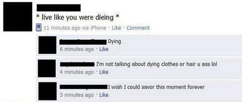 Facebook dyeing spelt wrong