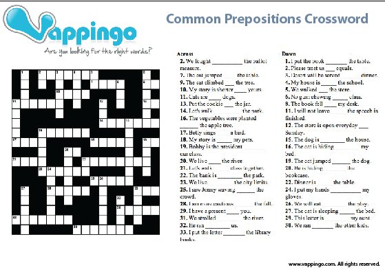 Picture of the prepositions crossword