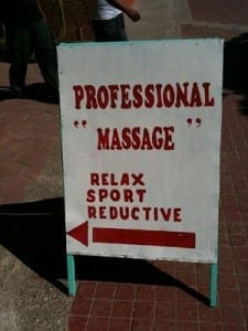 "Reads: Professional ""massage."""