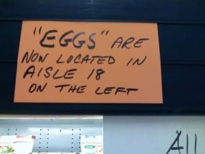 "Reads: ""eggs"" are now located..."