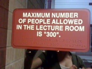 "Reads: maximum number of people in the lecture room is ""300"""