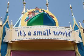 "Reads: ""it's a small world"""