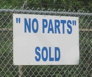 "Reads: ""no parts"" sold"