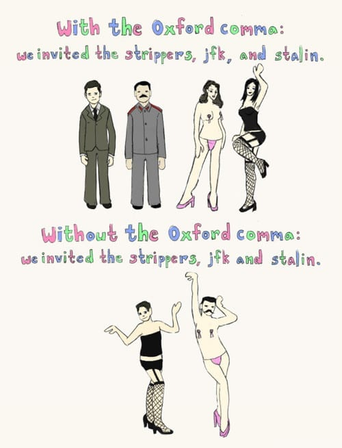 Picture showing why oxford commas are needed