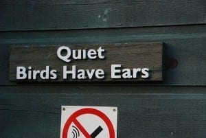 "Reads: ""Quiet words have ears"""
