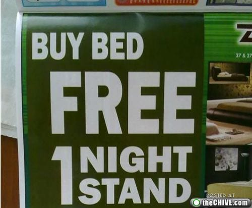 Reads: buy bed free 1 night stand