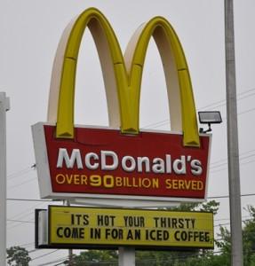 Completely misspelled mcdonalds sign