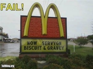 Incorrectly spelled McDonalds sign