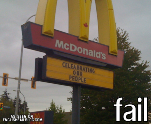 Sign mistake made by Mcdonalds