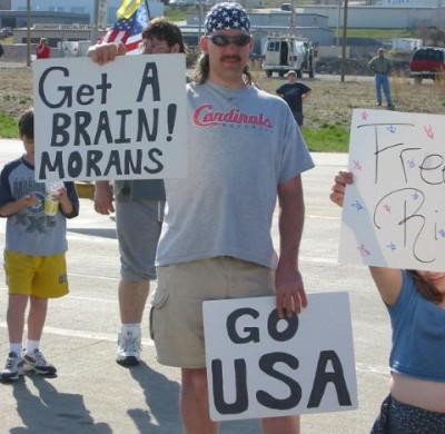 "Unforgivable spelling mistake: sign reads ""get a brain morans"""