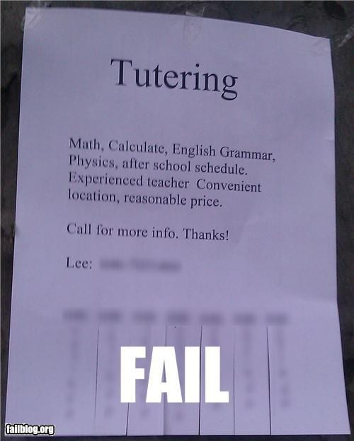 "Sign offers ""tutering"" instead of ""tutoring"""