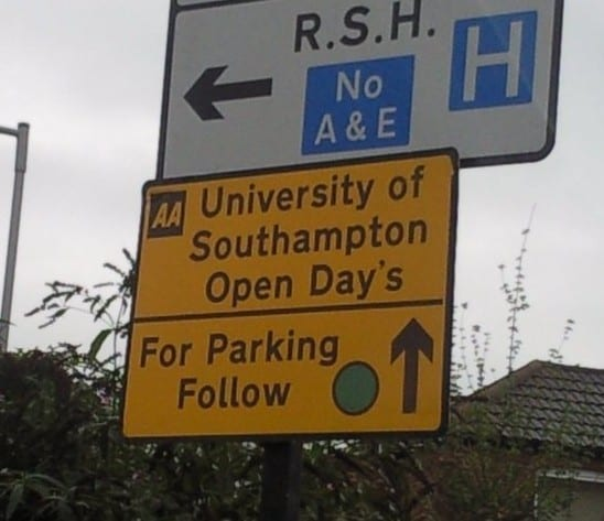 University of Southampton misspell their open day sign