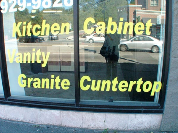 Unforgivable sign: Reads Cuntertop instead of countertop