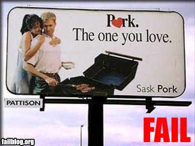 "Slogan reads: ""Pork the one you love"""