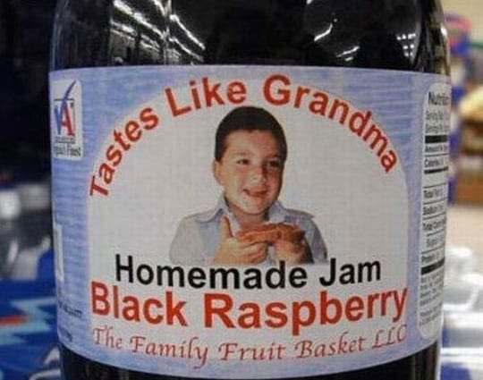 "Slogan reads: ""tastes like grandma"""