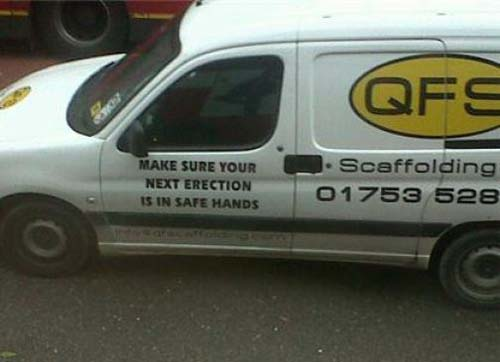 "Slogan reads: ""your erection is in safe hands"""