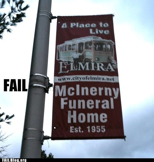 "Slogan reads: ""Funeral home, a place to live"""