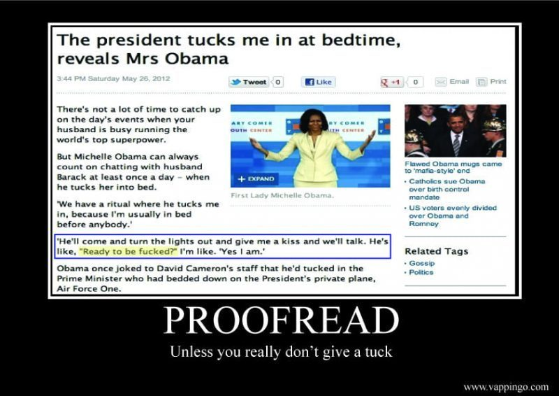 "Sign reads: ""proofread unless you really don't give a tuck"""