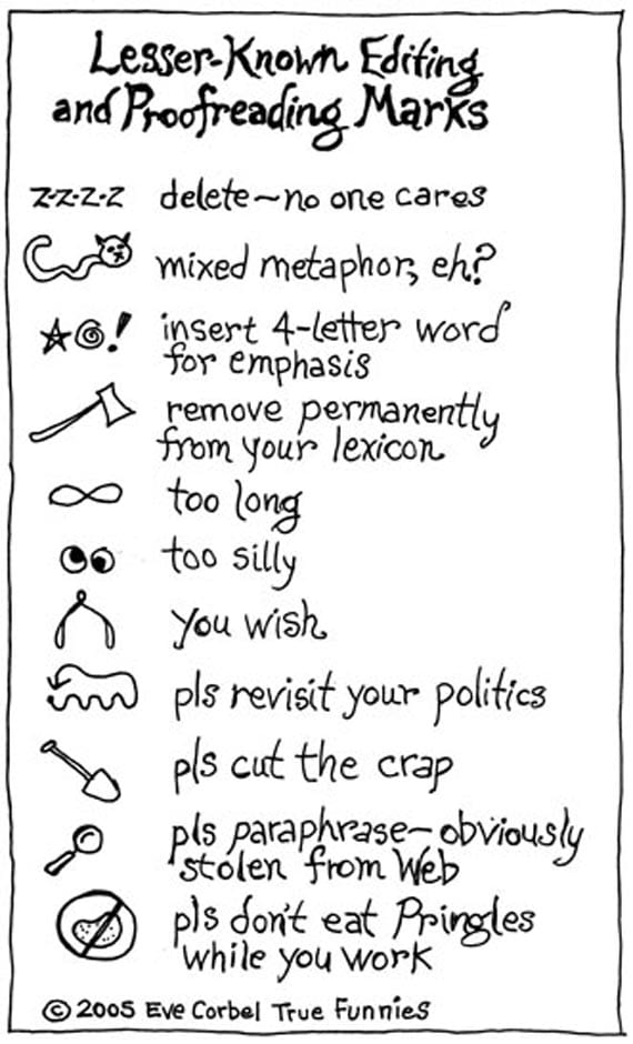 A funny image of lesser known proofreading marks
