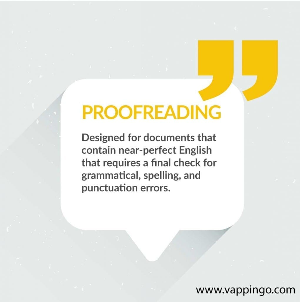 What is proofreading? Proofreading is designed to find any final mistakes in documents that contain near-perfect English