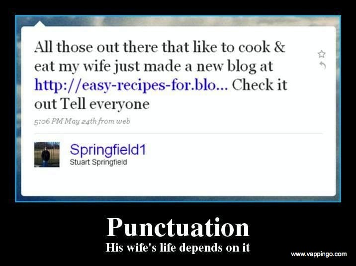 Punctuation could save your wife's life