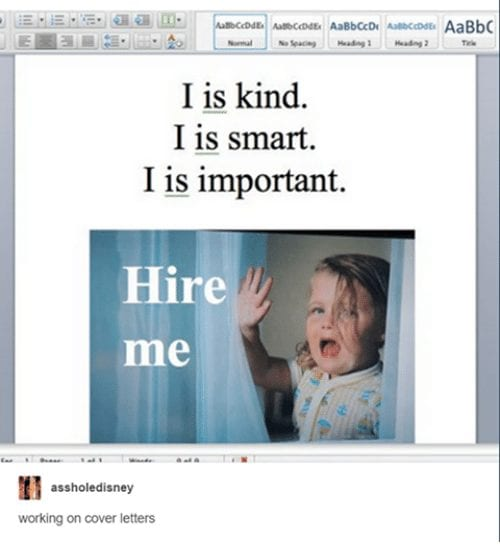 Funny cover letter example five