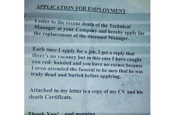 Great Funny Cover Letter Example Eight. The One Who Stalks The Dead