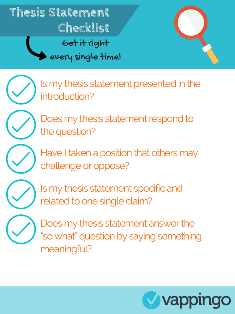 A simple to follow thesis statement checklist with five handy prompts