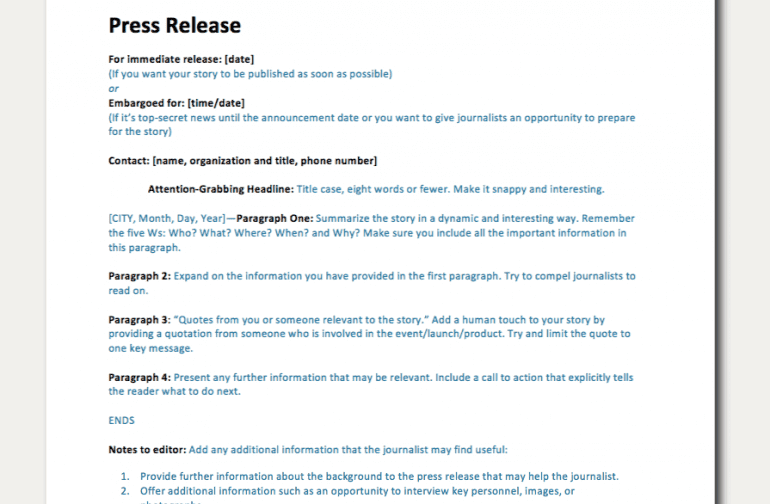 Create a Press Release That Journalists Love in Minutes With This Simple Press Release Template