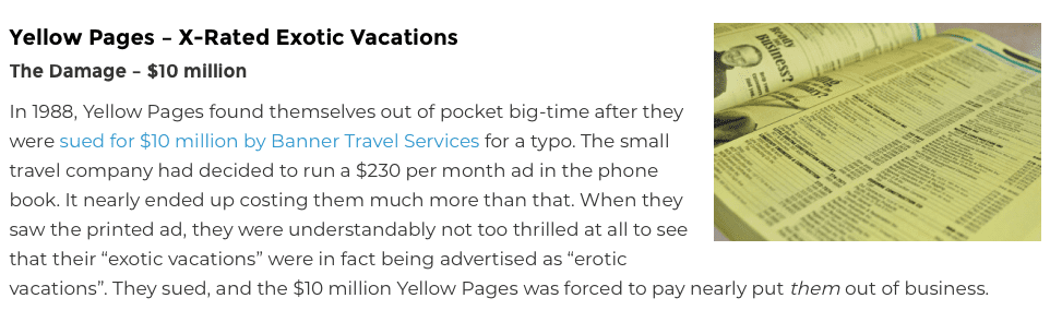 Yellow pages proofreading error