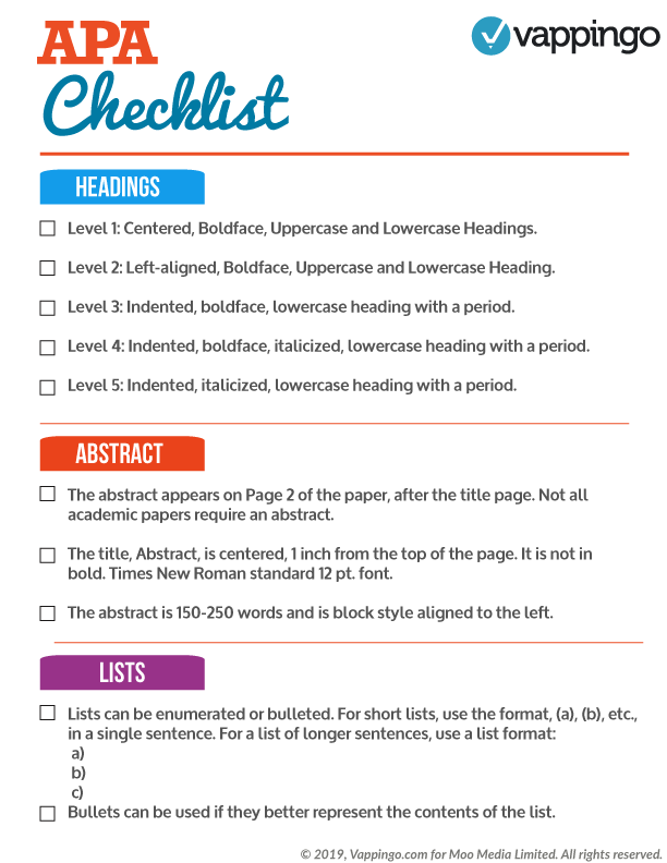 Checklist of APA rules for headings, abstract, and lists