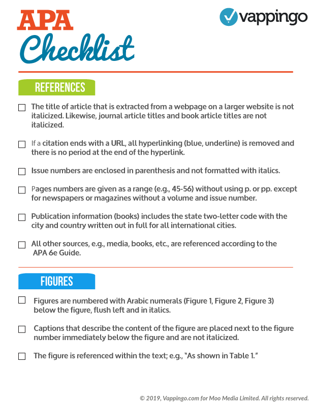 Checklist of APA rules for references and figures