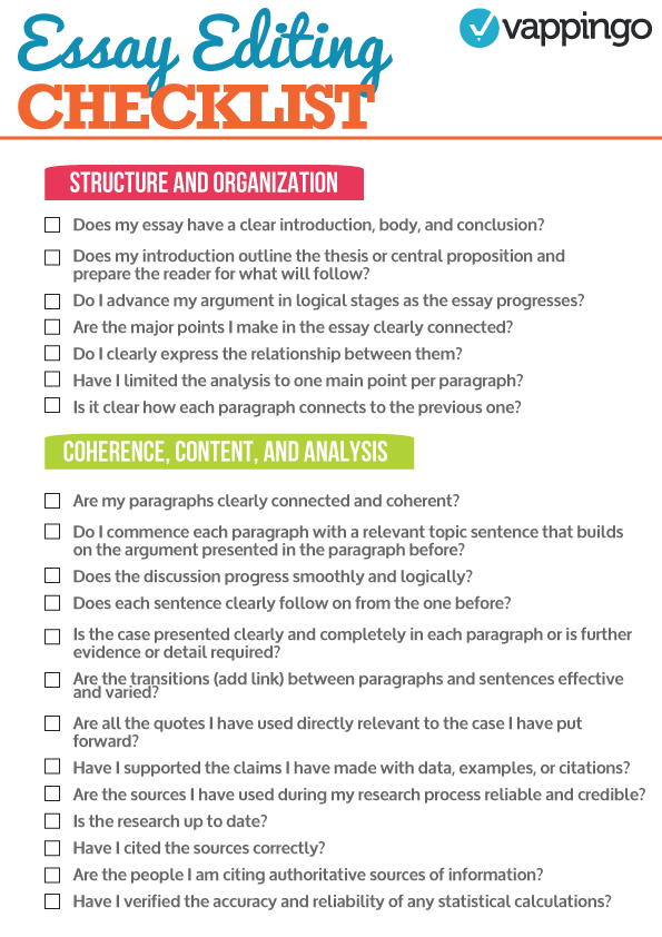 Essay Checklist On Guidelines For Writing Academic Papers