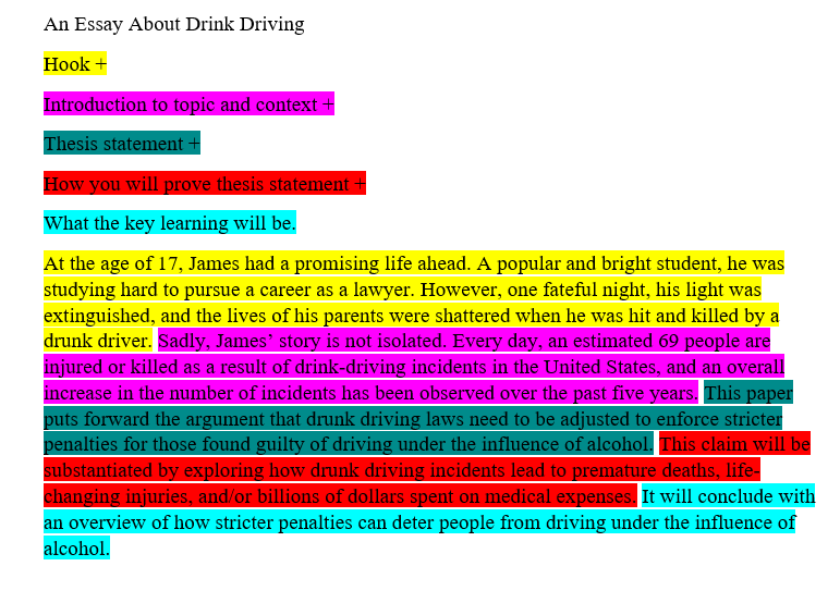 A sample introduction to an essay on drink driving