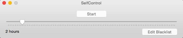 Example of SelfControl screen